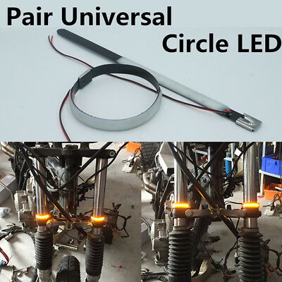 2X Motorcycle Amber Fork Turn Signal Light Circle LED Strip With 120° View Angle
