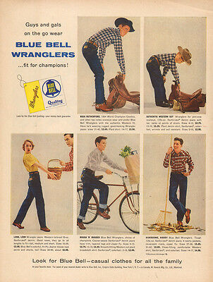 1955 vintage AD BLUE BELL WRANGLER S Jeans for Family Dungarees bluejeans 041015