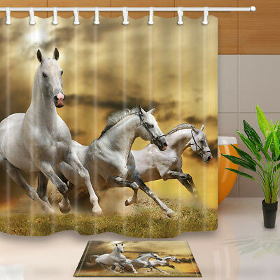 Stallion Horse Running On Mystical Sky Bathroom Shower Curtain Set Fabric 71Inch