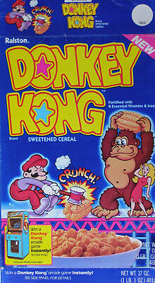 Ralston DONKEY KONG cereal box 1983 - MARIO pictured & Donkey Kong arcade game