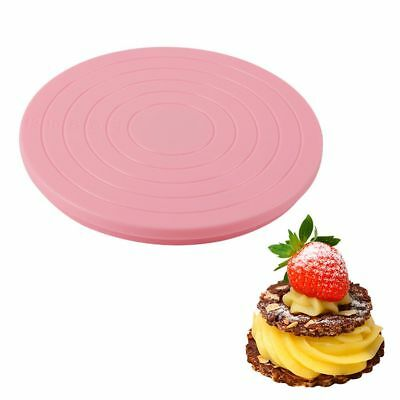 1Pc Plastic Rotating Cake Stand Plate Turntable Round Baking Revolving Decor DIY