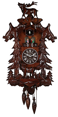 Cuckoo Clock Wooden Deer Handcrafted with 4 Dancers Battery Operated Home Decor