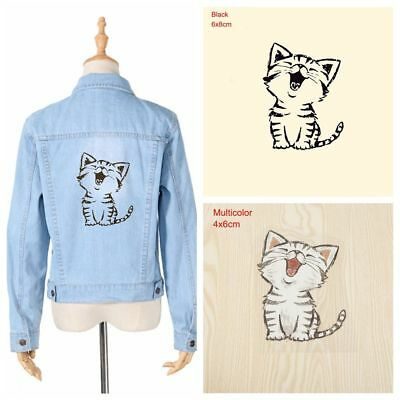 3 Pcs Cute Cat Heat Transfer Stickers Patches DIY Iron on Clothes Bags New