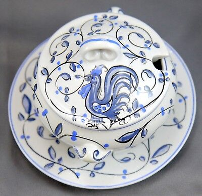 Blue & White HP Anfora Agueda Rooster Portugal Porcelain Sugar Bowl, Cover Plate