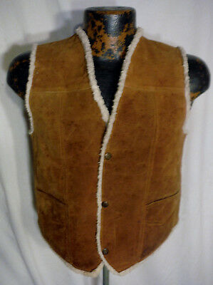 Vintage LEATHER Brown SNAP Button Suede Vest BOYS LARGE Sherpa Lined