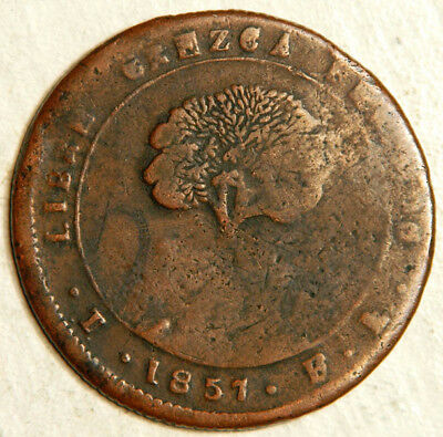 Honduras Copper-Lead 8 Reales 1857 (Scarce + Sought After!)