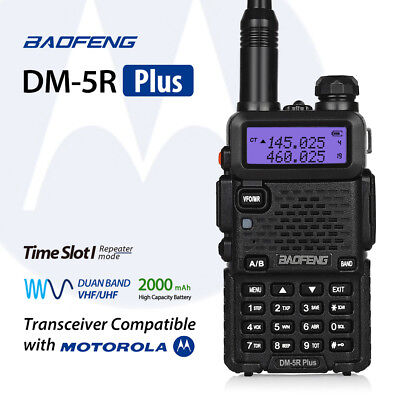 Baofeng DM-5R Plus Dual Band Digital Walkie Talkie Two way Radio w/ Motorola UK