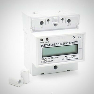 Baomain Single Phase DIN Rail Type Kilowatt Hour kwh Meter 220V 60Hz 20 100 A