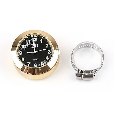 "Universal 7/8""  1"" Motorcycle Handlebar Bar Mount Clock Watch for Cruiser Gold"