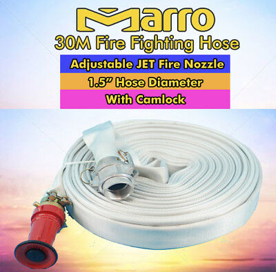 "Marro Fire Fighting Hose - 30M 1.5"" Lay Flat Canvas Camlock Adjustable Nozzle"