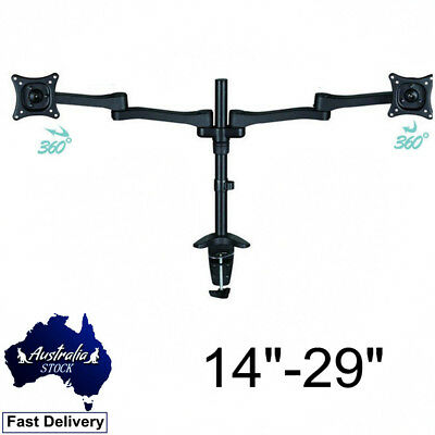 """Dual HD LED Desk Mount Monitor Stand Bracket 2 Arm Holds Two LCD Screen 14-29"""""""