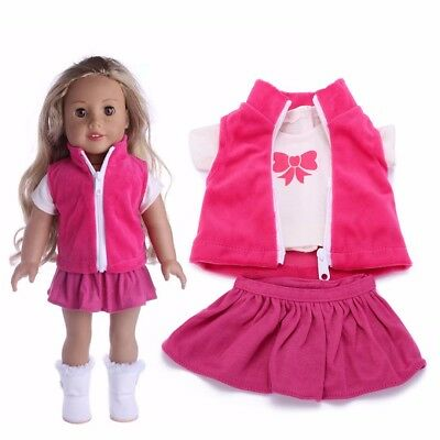 "Outfit T-Shirt Skirt Clothes For 18"" American Girl Our Generation My Life Doll"