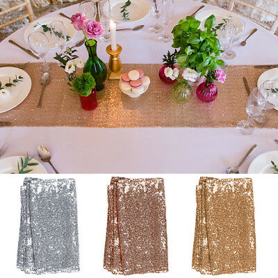30x275cm Champaign/Rose/Silver Sparkly Glitter Sequin Table Runner Party Decor