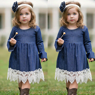US Newborn Infant Baby Girls Denim Lace Ruffles Dress Princess Party Clothes Set