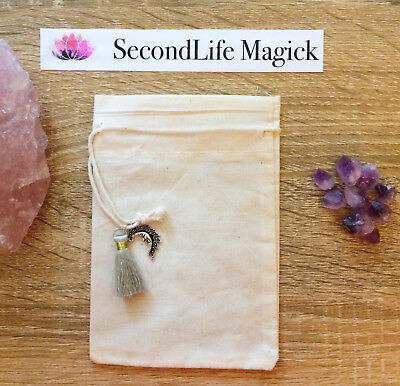 Crystal Bag With Crescent Moon Charm 💫 ~ Magick Spell Card Oracle Wicca Tarot.