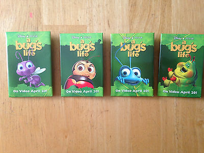 RARE 4 SET Vintage Movie Promo Pin Pinback Button Badge Disney Pixar Bug's Life