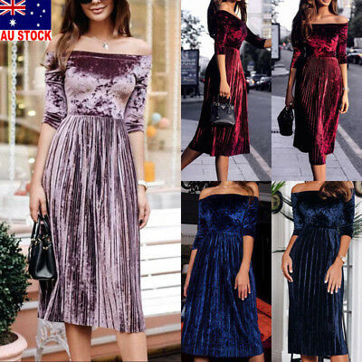 AU Women Velvet Off-Shoulder Casual Mid Sleeve Cocktail Evening Party Long Dress
