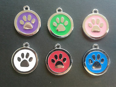 Personalised Engraved Paw Print Tag Dog Cat Pet ID Tags