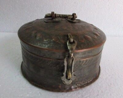 Indian Antique Old Crafted Islamic Engraved Copper Chapati Bread Box Rare