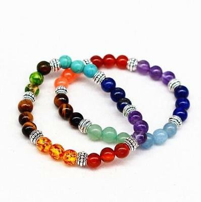 Ancient Silver Natural Agate Tiger Eye Amethyst Turquoise Colorful Bracelet Yoga