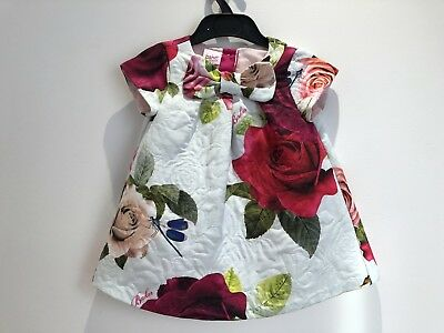Stunning TED BAKER Baby Girls Dress Floral Bow Pretty Party 6-9 M 9.5 Kg