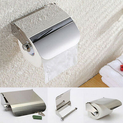 Wall Mounted Bathroom Stainless Steel Toilet Paper Holder Roll Tissue Box FT