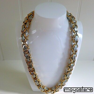 60CM / Φ12mm XXL Bizantino Collar Cadena Acero Inoxidable Oro Plata Collar