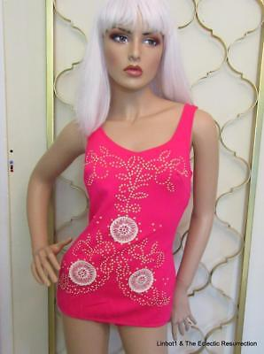 Vintage 1950s-1960s HOT Pink Swimsuit 3D Dots & Lace S/M Pin-Up
