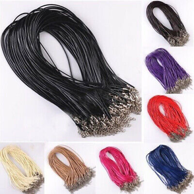Black Bulk Lots Leather Cord Necklace DIY Charm Jewelry String Lobster Clasp New