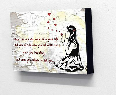 6 X 4postcard size Block Mounted Print Banksy Balloon Girl Blowing Hearts Quote