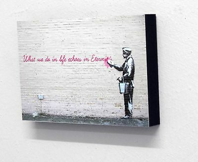 """6"""" X 4"""" (postcard size) Block Mounted Print Banksy What We Do In Life"""