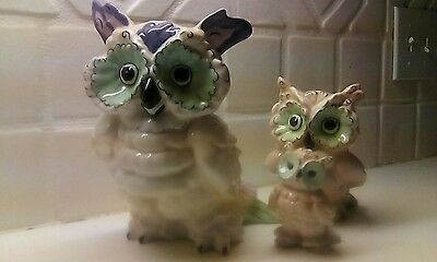 3 Kay Finch owls Vintage California Pottery Blue and Pink