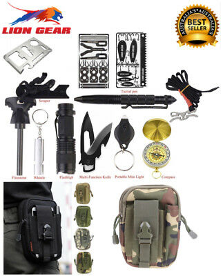 +60 PCS Wilderness Survival Kit Waist Pouch SOS Emergency Search & Rescue