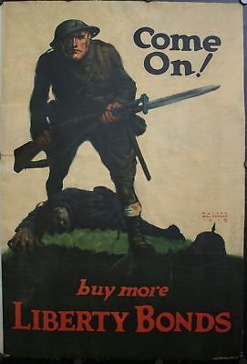 1918 Come On! Buy more Liberty Bonds Walter Whitehead USA War WWI Poster
