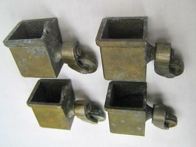 4 castors  Large square cup with inch caster wheels   Brass  Good condition