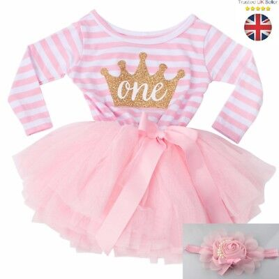 Baby Girls 1st Birthday tutu Outfit Set Dress Smash Cake Photo shoot 12 months