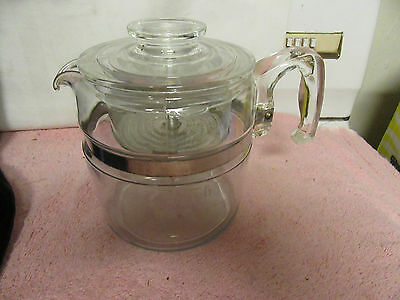 Vintage Pyrex #7756 6-Cup Glass Flameware Stovetop Coffee Pot - COMPLETE - c