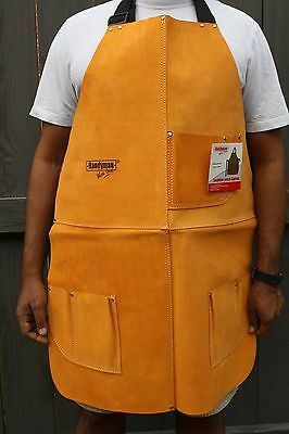 Leather Welding Apron Heat Resistant work safety insulated bib with pockets 34""