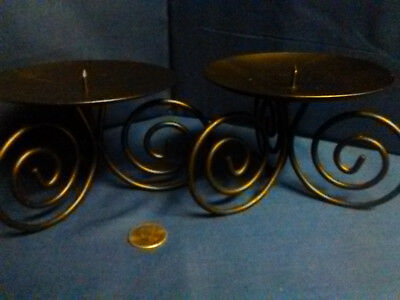 PAIR of matching short VINTAGE Wrought Iron Tabletop Pillar Candle Holders