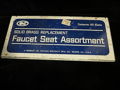 Vtg Chicago Specialty Mfg. Co Faucet Seat Assortment Tin Metal Box - Advertising
