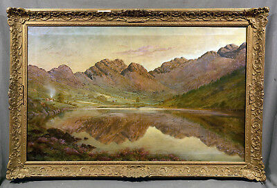 "Beautiful Early 20th Century Oil Painting ""Mountain Lake Landscape"""