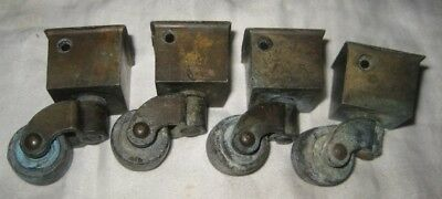 Vintage/Antique Brass Furniture Casters/Wheels w/Caps – 4 Matching