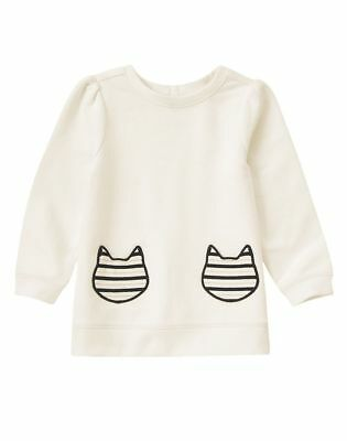NWT Gymboree Girls Size 3T CITY KITTY Cat Real Pockets Top Bow Ivory Cute