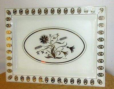 "Mid Century Glass Tray David Douglas Signed White Gold Floral 18 1/2"" x 14"""