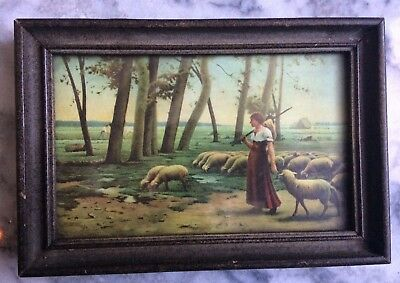 Old Vintage PreRaphaelite Antique Art Print c late 19th WOMAN SHEPHERD Sheep