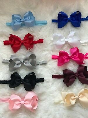 Big Bow On Frilly Elastic Bands Baby Girls Headbands Bow Soft Headbands  + Lot