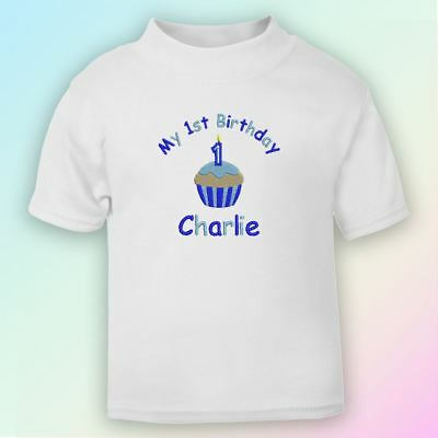 My 1st Birthday Cake - Boy Embroidered Baby T-Shirt Gift Personalised First