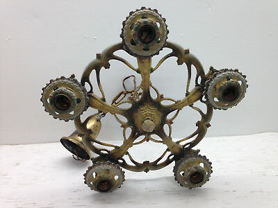 Antique Large Cast Aluminum Victorian 5 Socket Ceiling Hanging Fixture Painted