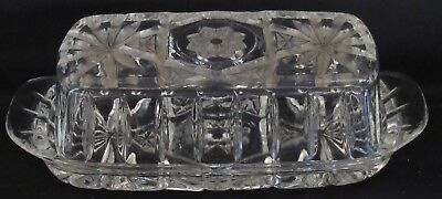 Vintage Clear Glass Covered Butter Dish Anchor Hocking Star of David