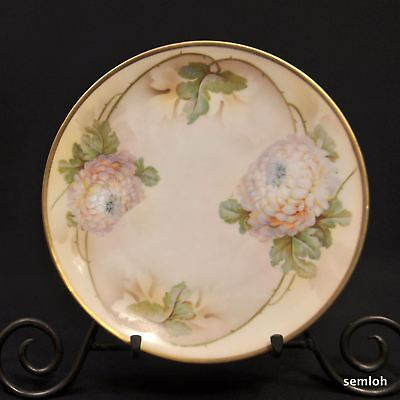 ES Germany PROV SXE SAXE PLATE Handpainted White Chrysanthemums 1902-1937 GOLD